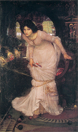 John William Waterhouse: La dama de Shalott buscando a Lanzarote